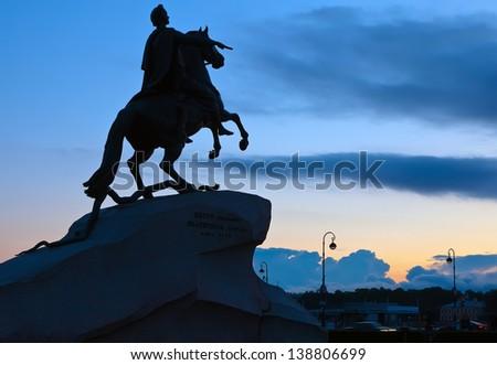 The Bronze Horseman in St.Petersburg, Russia - stock photo