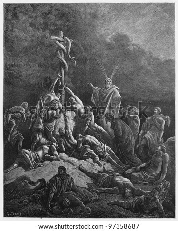 The Bronze Serpent - Picture from The Holy Scriptures, Old and New Testaments books collection published in 1885, Stuttgart-Germany. Drawings by Gustave Dore. - stock photo