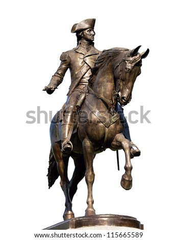 The bronze statue of George Washington in Boston Public Garden isolated on white - stock photo