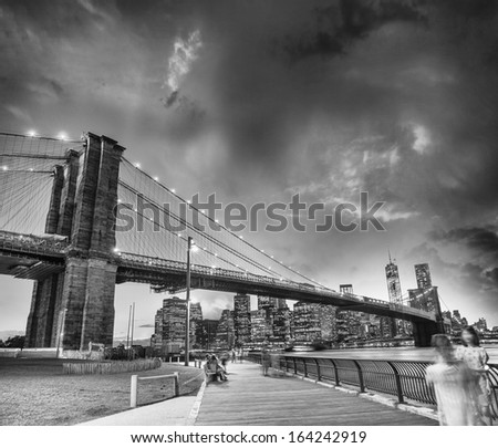The Brooklyn Bridge in New York. Evening colors in summer. - stock photo