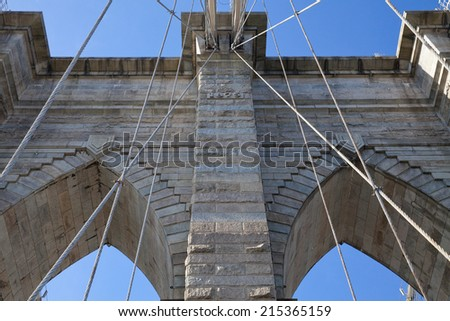 The Brooklyn Bridge is a bridge in New York City and is one of the oldest suspension bridges in the United States.   Completed in 1883, it connects the boroughs of Manhattan and Brooklyn.