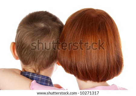 The brother and sister embrace - stock photo