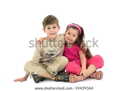 The brother and the sister on a white background - stock photo