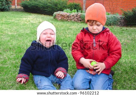 The brothers have taken offense at each other - stock photo