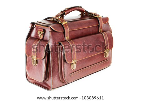 The brown leather bag for business travel (isolated on white background) - stock photo