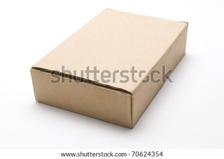 The brown paper box on the white background