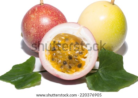 the brown passion fruit isolate on white - stock photo