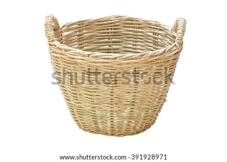 the brown weave basket (isolated and have clipping path)