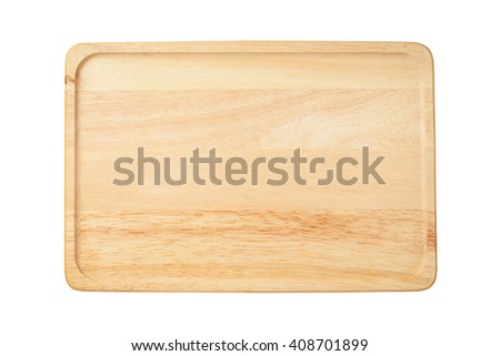 The brown wooden plate isolated on white background.