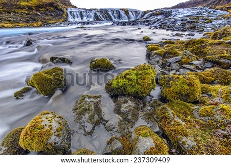 The Bruarfoss waterfalls are little waterfalls situated along the the road 355 of Iceland. - stock photo