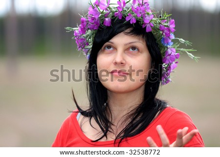 the brunette in the dowry on the head - stock photo