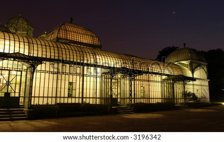 The Brussels (Belgium) royal greenhouse at night - stock photo