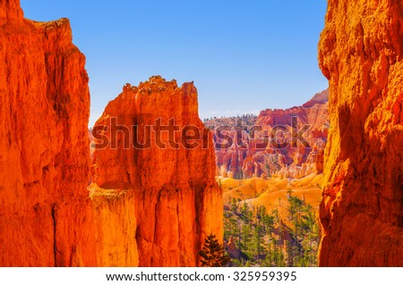 The Bryce Canyon National Park, Utah, United States, amazing shapes and colors - stock photo