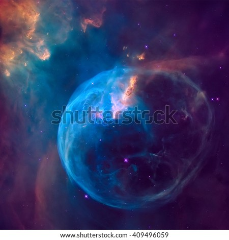The Bubble Nebula, also known as NGC 7653, is an emission nebula located in the constellation Cassiopeia. Retouched colored image. Elements of this image furnished by NASA. - stock photo