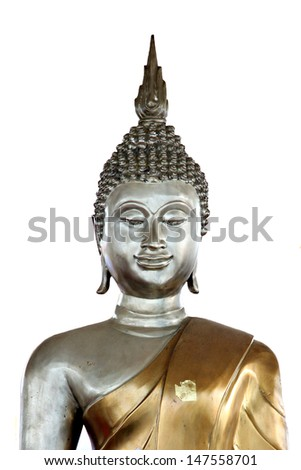 The Buddha is looked face so happy on white background.