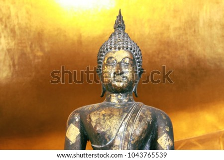 The Buddha is over 100 years old in Bangkok, Thailand.
