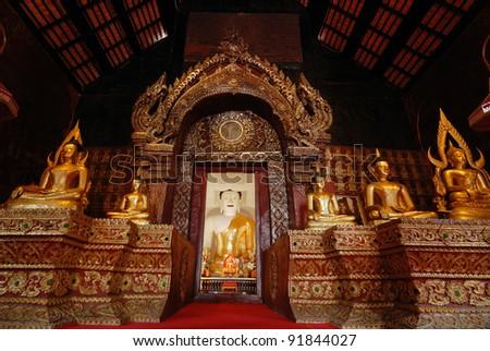 The Buddha of Wat prasat ,Chiangmai Thailand - stock photo