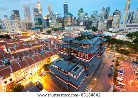 The Buddha's Relic Tooth Temple in Singapore's Chinatown - stock photo