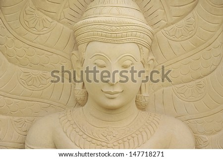 The Buddha statue from sandstone carving.