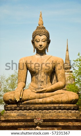The Buddha status of sukothai historical park at sukothai province,Thailand - stock photo