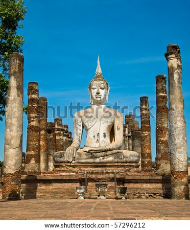 The Buddha status of sukothai historical park,sukothai province ,Thailand - stock photo