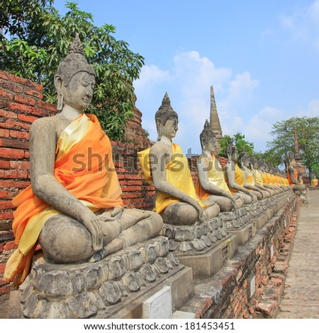 The Buddha status old with golden of ayutaya historical park,ayutthaya province ,Thailand  - stock photo
