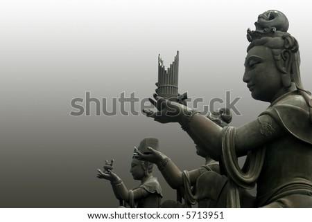 The buddha worshipers - stock photo
