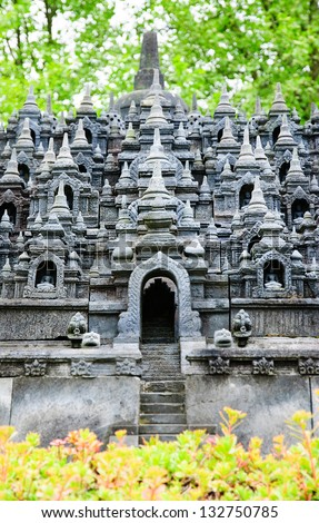 the Buddhist temple of Borobudur near Yogyakarta, Java, Indonesia, a UNESCO heritage site - stock photo