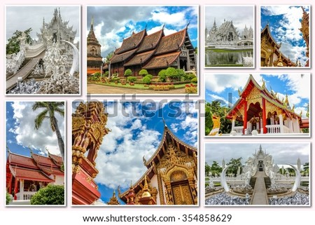 The Buddhist temples collage of several famous locations landmarks of Buddhist temples in the old city of Chiang Mai, Northern Thailand, Asia.