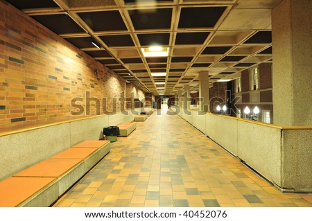 The building interior corridor, edmonton, alberta, canada - stock photo