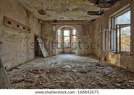 The building Masonic Lodge in ruins, Gdansk - Poland - stock photo