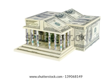 The building of dollar bills on a white background