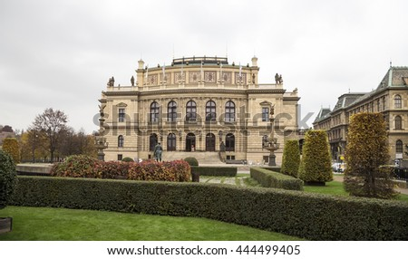 The building of Rudolfiunum concert halls on Jan Palach Square in Prague, Czech Republic (day). Czech Philharmonic Orchestra    - stock photo