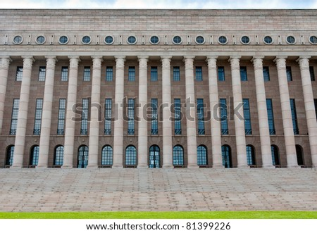 The building of the Finnish parliament in Helsinki, Finland - stock photo