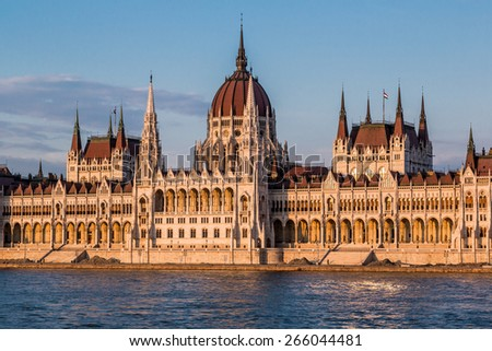 The building of the Hungarian Parliament in Budapest at the river Danube, Hungary - stock photo