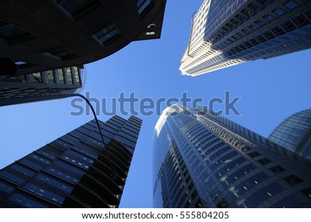 The buildings and blue sky