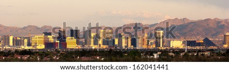 The buildings and casinos on the strip cityscape downtown Las Vegas - stock photo