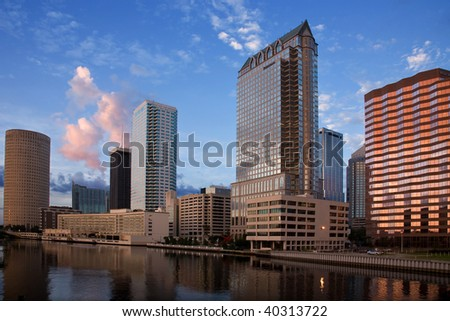 the buildings of downtown Tampa Florida near sunset