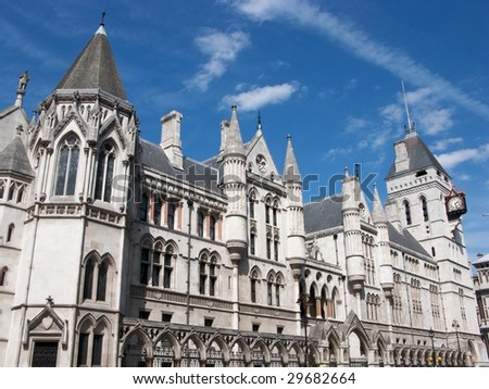 The buildings of the Royal Courts of Justice in London, England