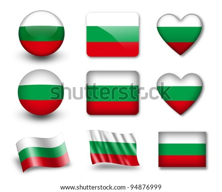 The Bulgarian flag - set of icons and flags. glossy and matte on a white background.