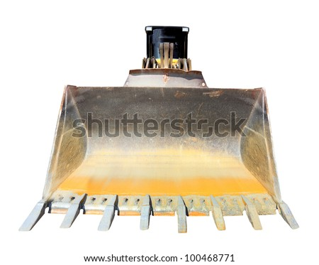 The bulldozer isolated on a white background. - stock photo