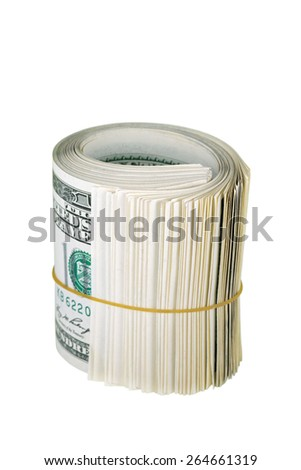 The bundle dollars USA in rubber band, isolated on white background