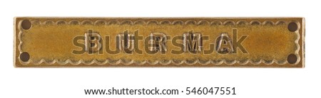 The Burma Bar or Clasp for World War Two medal isolated on white with clipping path