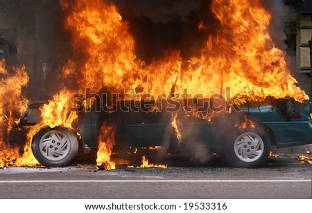 The burning car, Moscow, Prospect Mira. Smoke started suddenly from under the bonnet. - stock photo