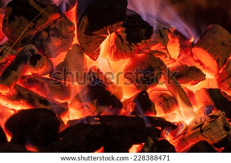 The burning of charcoal in a kiln