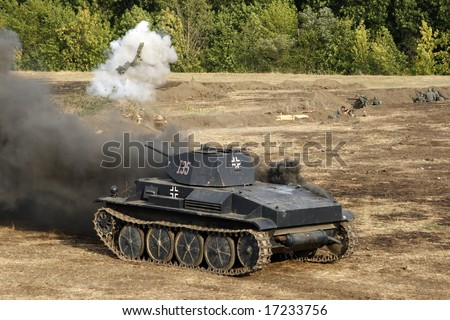 """The burning tank. Military - historical reconstruction """" Break of Mius-front 1943 """" organized by the Military - historical Don museum in August 2008 near Taganrog, Russia - stock photo"""