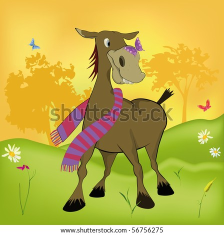 The burro and the butterfly - stock photo