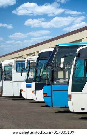 the bus station with autobus - stock photo