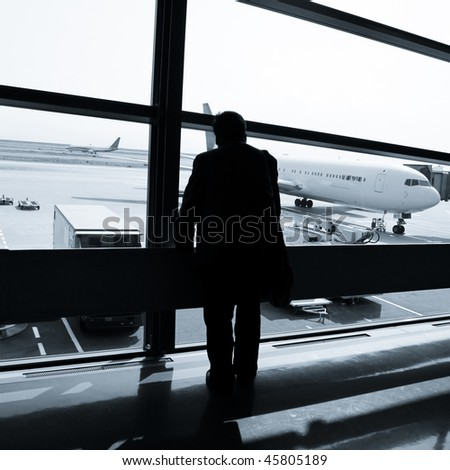 the business man at the airport. - stock photo