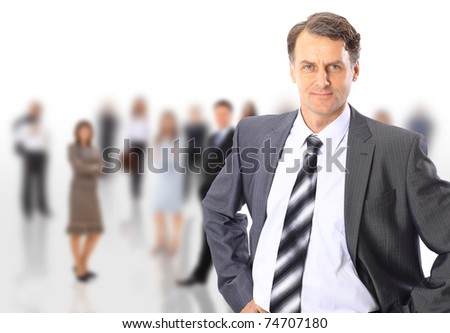 The business man with a command on a white background - stock photo